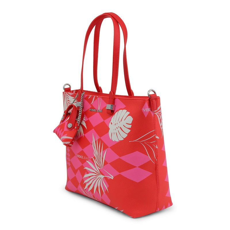 Versace Jeans - Shopping Bag - Red and Pink Polyester with Leaves and Small  Coin Purse 32c07d433cb64