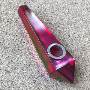 Ruby Aura Quartz Pipe - Ethereal Haze