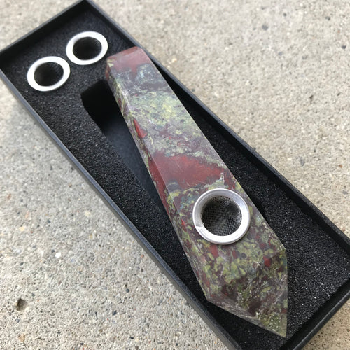 Dragon's Blood Jasper Pipe - EtherealHaze.com