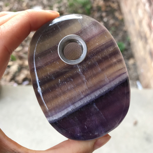 Purple Fluorite Oval Pipe - Ethereal Haze