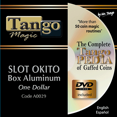Slot Okito Coin Box (Aluminum w/DVD)(A0029) One Dollar by Tango Magic