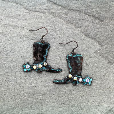 Earrings Western Boots Fish Hook Burnished Patina AB Stone
