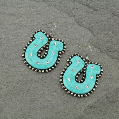 Earrings Western Horseshoe Turquoise Fish Hook Burnished Silver