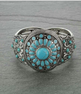 Navajo Style Double Stretch Turquoise Bracelet