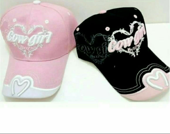 Hat Cowgirl Babe Baseball Cap Adjustable Black and Pink