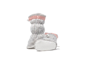 Vivi G'z Heather Grey with Blush Trim Basic Baby Bootie