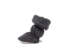 "Vivi G'z signature classic ""Charlie"" charcoal cuff belted baby booties are made of a soft cotton jersey knit fabric and have a non slip grip sole – a staple in every baby's wardrobe."