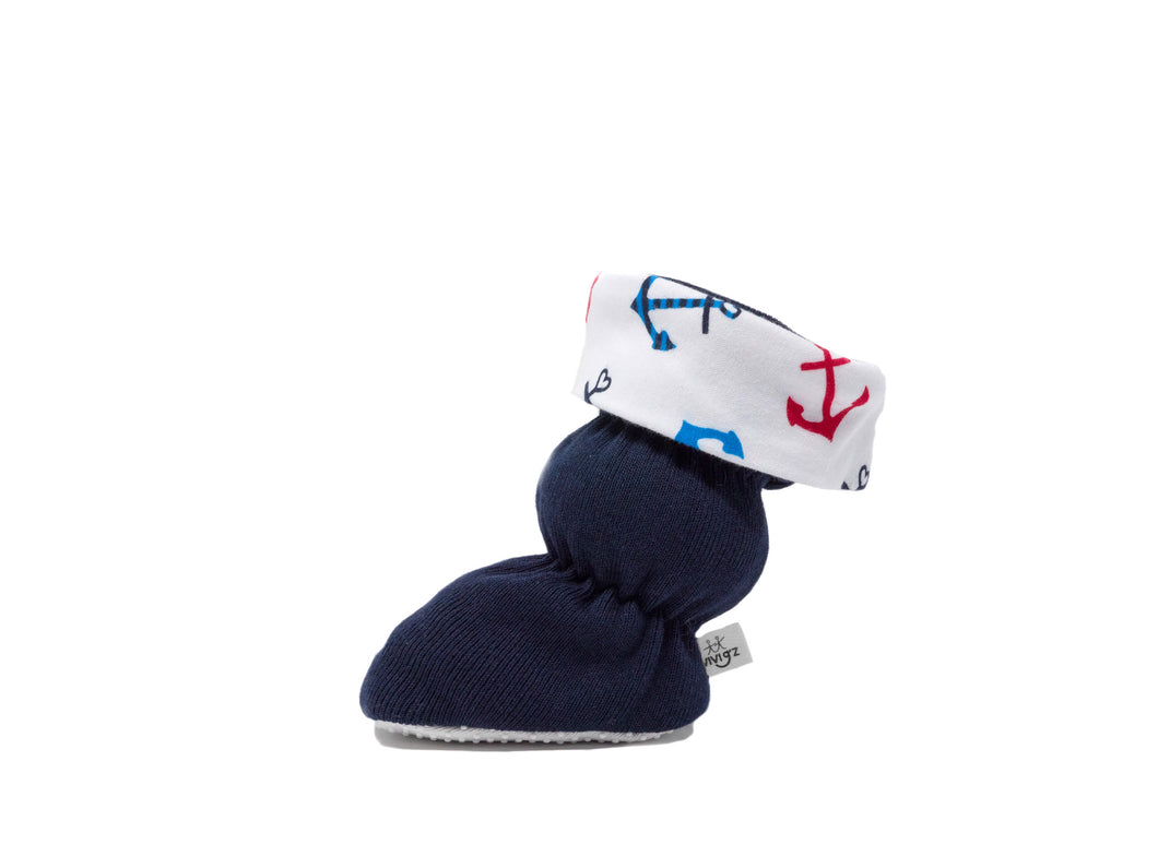 Vivi G'z Navy Blue with Toggle Cuff Anchor Baby Bootie