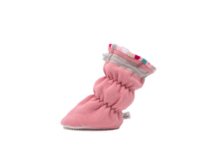 "Vivi G'z signature classic ""Madeline"" pink basic baby booties are made of a cotton polyester fleece fabric with a fun multicolored cotton jersey raindrop print liner and have a non slip grip sole – a staple in every baby's wardrobe."