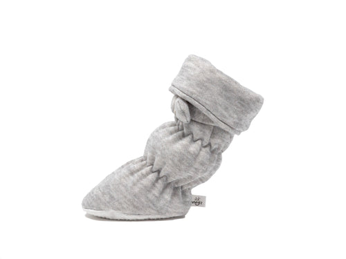 "Vivi G'z signature classic ""Frankie"" heather grey cuff belted baby booties are made of a soft cotton polyester fleece fabric and have a non slip grip sole – a staple in every baby's wardrobe"