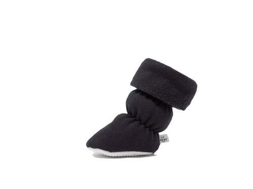 "Vivi G'z signature classic ""Alex"" black cuff baby booties are made of soft cotton polyester fleece fabric and have a non slip grip sole. This cuff style has a toggle closure under the cuff. A great basic color for everyday."