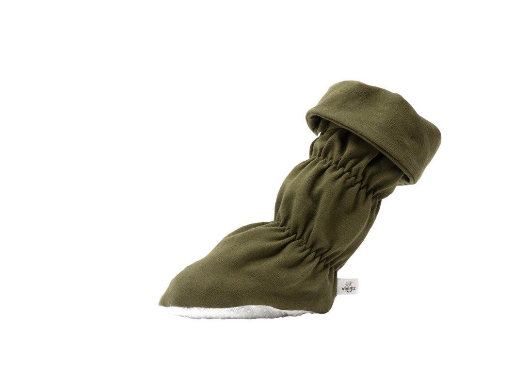 "Vivi G'z signature classic ""Jack"" olive green cuff belted baby booties are made of a soft cotton jersey knit fabric and have a non slip grip sole – a staple in every baby's wardrobe for the fall/winter season."