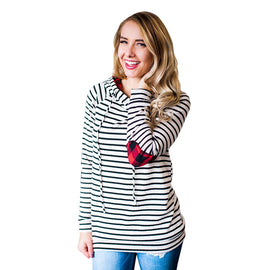 Loose Striped Hoodie Sweatshirt