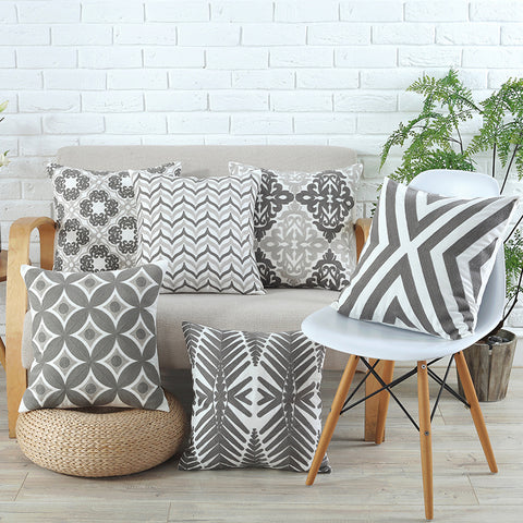 Geometric Canvas Embroidery Throw Pillow