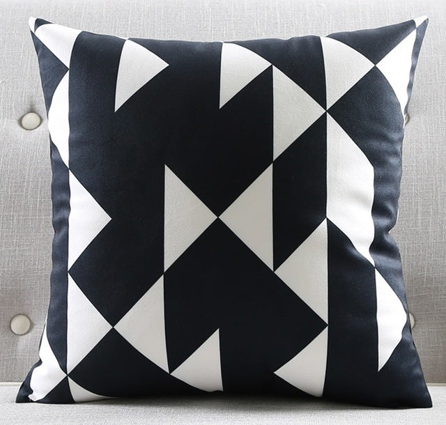 Modern Black And White Pillow