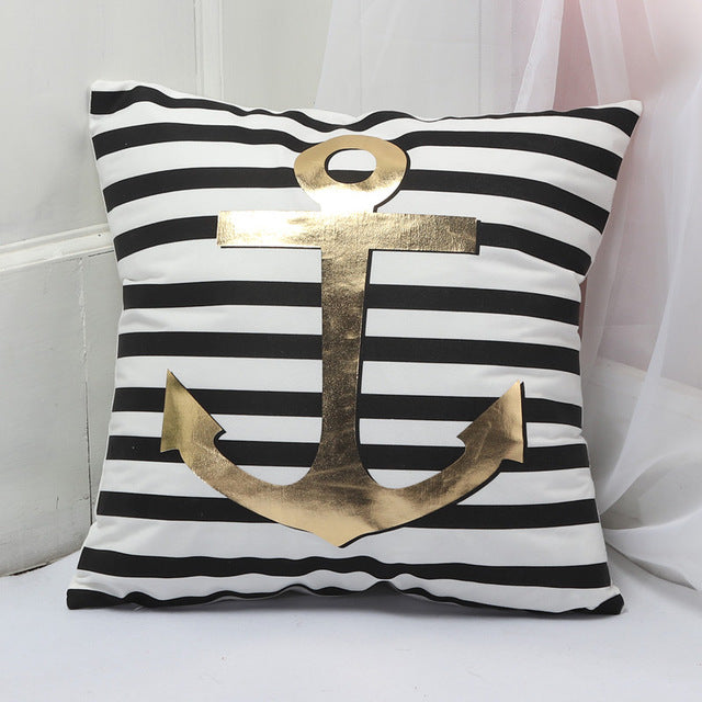 Gold Printed Pillow Cover