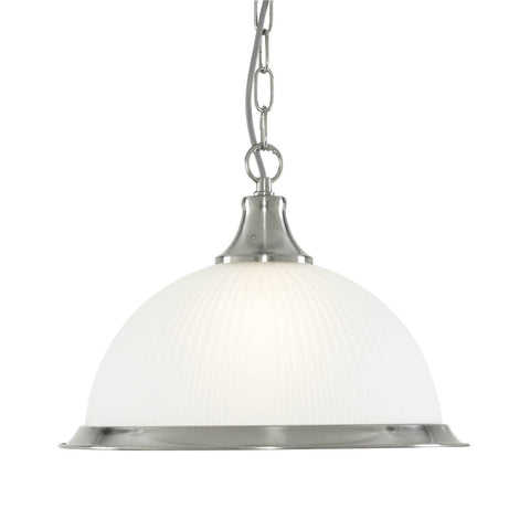 AMERICAN DINER - 1 LIGHT PENDANT, SATIN SILVER, ACID GLASS