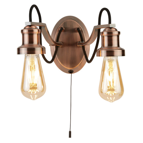 OLIVIA 2 LIGHT CEILING, BLACK BRAIDED FABRIC CABLE, ANTIQUE COPPER