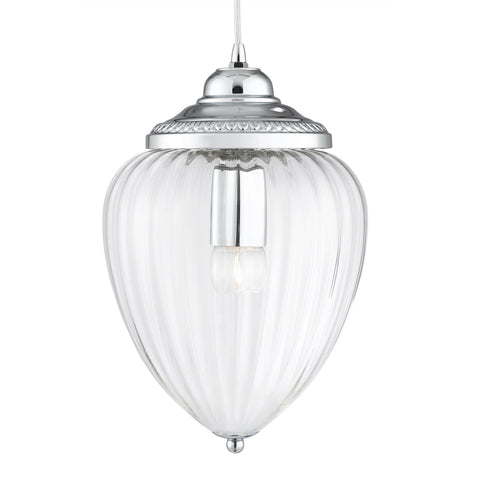 PINEAPPLE - 1 LIGHT PENDANT, CHROME, CLEAR RIBBED GLASS