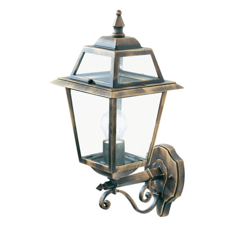 NEW ORLEANS - 1  LIGHT OUTDOOR (UP LIGHT) WALL BRACKET, BLACK GOLD, CLEAR GLASS