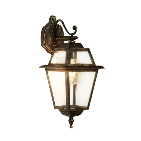 NEW ORLEANS - 1  LIGHT OUTDOOR (DOWN LIGHT) WALL BRACKET, BLACK GOLD, CLEAR GLASS