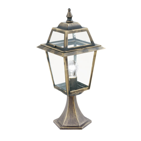 NEW ORLEANS - 1  LIGHT OUTDOOR POST (Height 50cm) BLACK GOLD, CLEAR GLASS