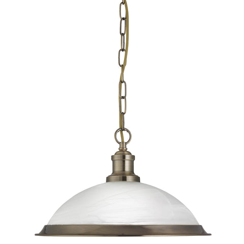 BISTRO - 1 LIGHT PENDANT, ANTIQUE BRASS, MARBLE GLASS