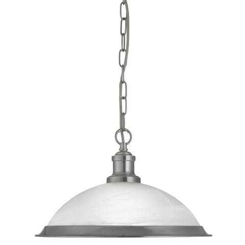 BISTRO - 1 LIGHT PENDANT, SATIN SILVER, MARBLE GLASS