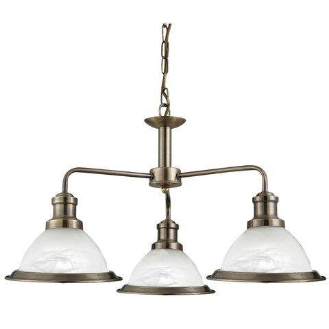BISTRO - 3 LIGHT CEILING, ANTIQUE BRASS, MARBLE GLASS