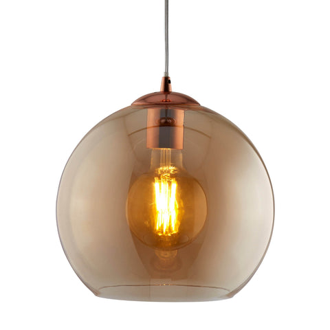 BALLS 1 LIGHT ROUND PENDANT (30cm dia), AMBER GLASS, ANTIQUE BRASS