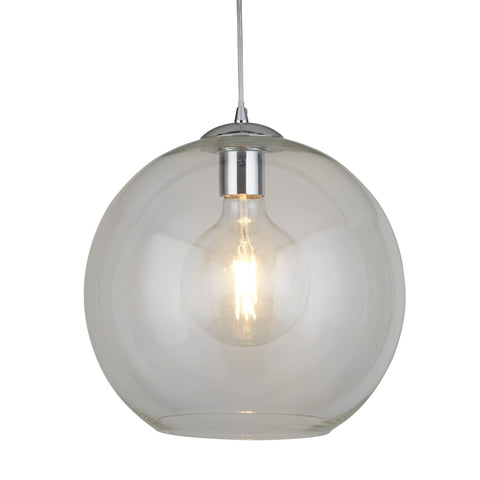 BALLS 1 LIGHT ROUND PENDANT (30cm dia), CLEAR GLASS, CHROME