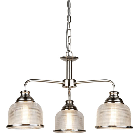 BISTRO II - 3 LIGHT CEILING, SATIN SILVER, HALOPHANE GLASS
