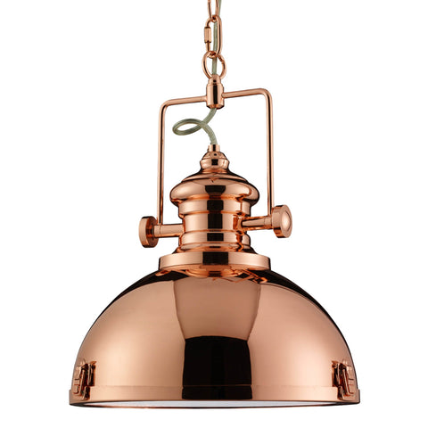 INDUSTRIAL PENDANT, 1 LIGHT COPPER, CLEAR LENS