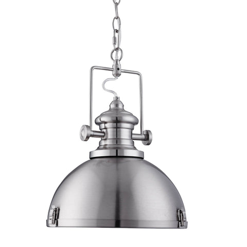 INDUSTRIAL PENDANT, 1 LIGHT SATIN SILVER, CLEAR LENS