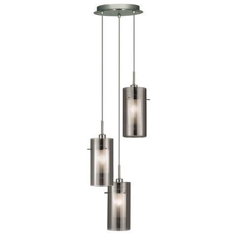 DUO 2 - 3 LIGHT CEILING MULTI-DROP WITH SMOKEY OUTER/FROSTED INNER GLASS SHADES