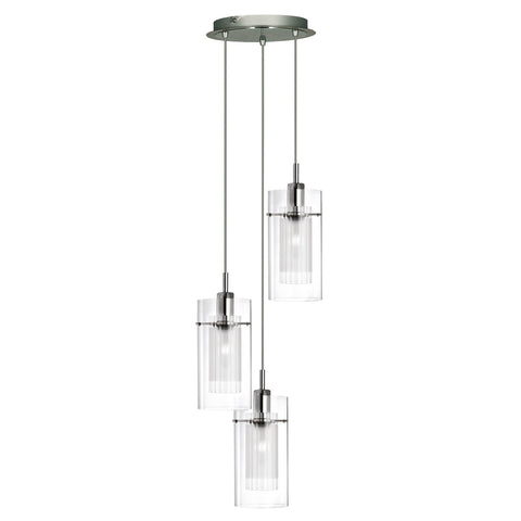 DUO I - SS DOUBLE GLASS 3 LIGHT PENDANT