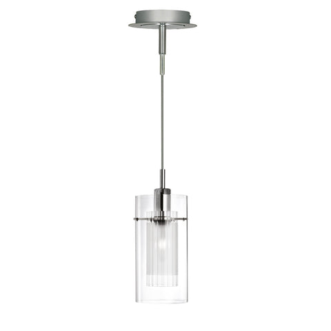 DUO I - SATIN SILVER DOUBLE GLASS PENDANT