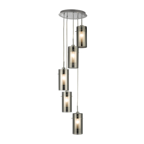 DUO 2 - 5 LIGHT CEILING MULTI-DROP WITH SMOKEY OUTER/FROSTED INNER GLASS SHADES