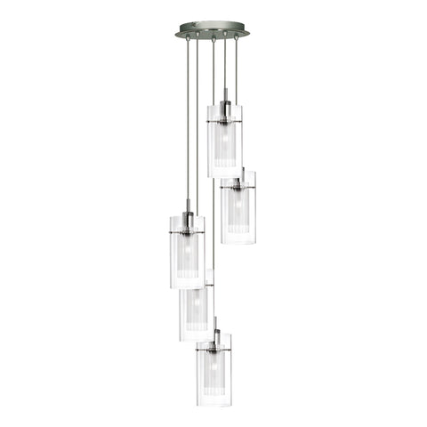 DUO I - SATIN SILVER DOUBLE GLASS 5 LIGHT PENDANT