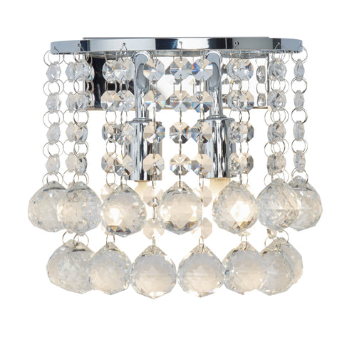 HANNA CHROME 2 LIGHT ROUND WALL BRACKET CLEAR CRYSTAL BALLS