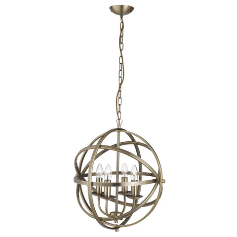 ORBIT 4 LIGHT CAGE FRAME ORB PENDANT, ANTIQUE BRASS