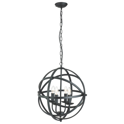 ORBIT 4 LIGHT CAGE FRAME ORB PENDANT, MATT BLACK