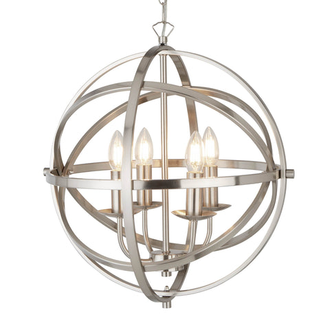ORBIT 4 LIGHT CAGE FRAME ORB PENDANT, SATIN SILVER