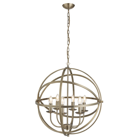 ORBIT 6 LIGHT CAGE FRAME ORB PENDANT, ANTIQUE BRASS