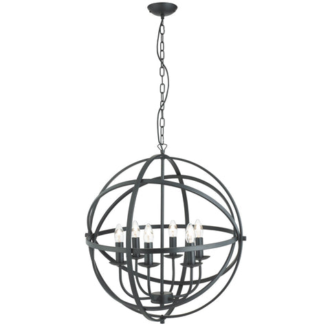 ORBIT 6 LIGHT CAGE FRAME ORB PENDANT, MATT BLACK