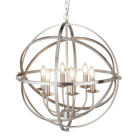 ORBIT 6 LIGHT CAGE FRAME ORB PENDANT, SATIN SILVER