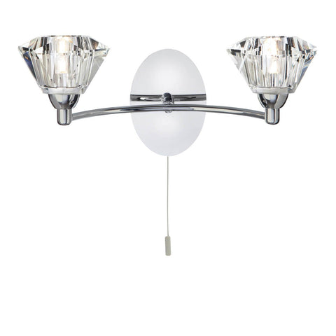 SIERRA -  2 LIGHT WALL BRACKET, CHROME, CLEAR GLASS