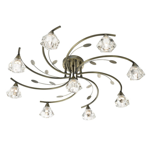 SIERRA -  9 LIGHT SEMI-FLUSH, ANTIQUE BRASS, CLEAR GLASS