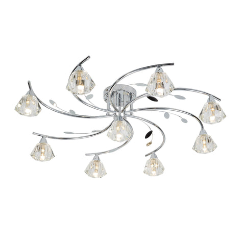 SIERRA -  9 LIGHT SEMI-FLUSH, CHROME, CLEAR GLASS