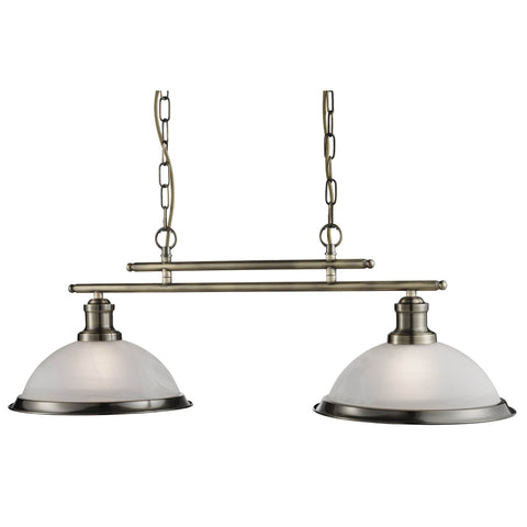 BISTRO - 2 LIGHT CEILING BAR, ANTIQUE BRASS, MARBLE GLASS